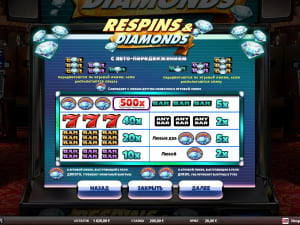 Таблица выплат Respins Diamonds